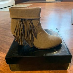 C Label taupe bootie with fringe